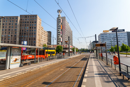 Berlin, Germany - May 18, 2016: Alexander street with unidentified people. Berlin, capital of Germany, is with about 3.5 mio inhabitants and a global city of culture, politics, media and sciences