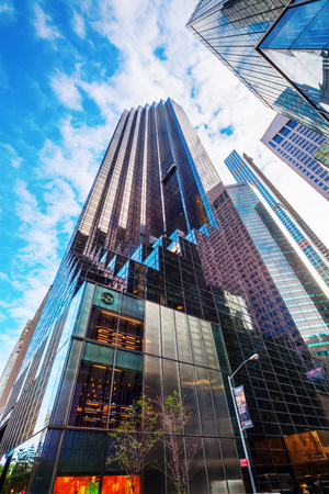 low angles: New York City, USA - October 07, 2016: Trump Tower at 5th Ave in Manhattan. It houses the primary penthouse condominium residence of Donald Trump and it is 58-story and 202 m high Editorial