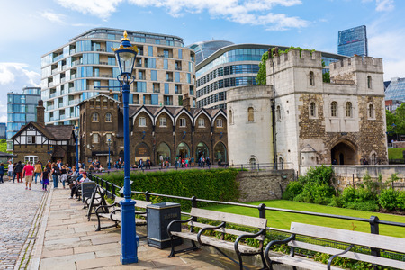 historic sites: London, UK - June 15, 2016: Tower of London shop with unidentified people. The Tower of London is one of the worlds most famous fortresses, and one of Britains most visited historic sites