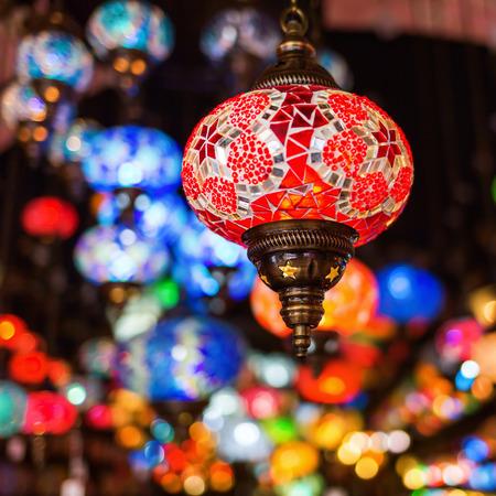 bazaar: beautiful Arabian lamps at an oriental bazaar
