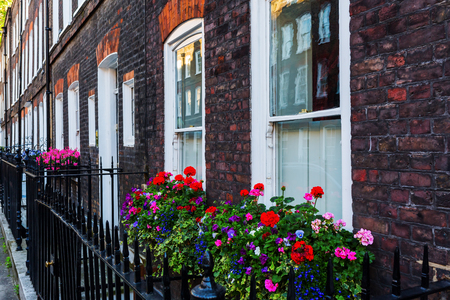 row of houses: old row houses with flower decorated windows in Westminster, London, UK Stock Photo