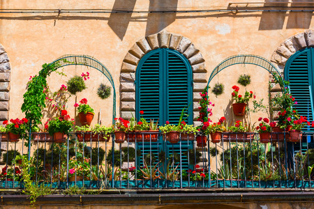 lucca: picturesque flower decorated balcony in Lucca, Italy