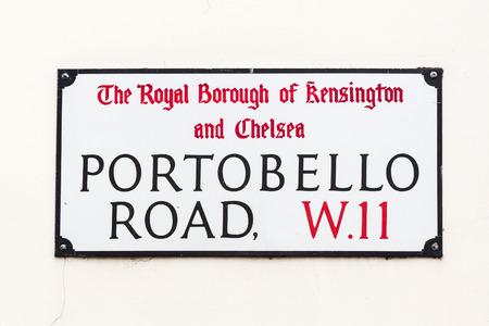portobello: street sign of Portobello Road in London, UK