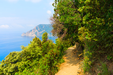 mediterranean coast: hiking trail at mediterranean coast of the Cinque Terre, Italy Stock Photo