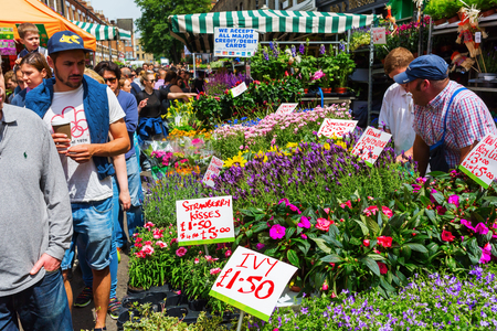 hamlets: London, UK - June 19, 2016: Columbia Road Flower Market with unidentified people. It is a popular historic street market in the London Borough of Tower Hamlets.