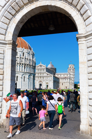 piazza dei miracoli: Pisa, Italy - June 30, 2016: Piazza dei Miracoli with unidentified people. It is recognized as an important center of European medieval art and one of the finest architectural complexes in the world