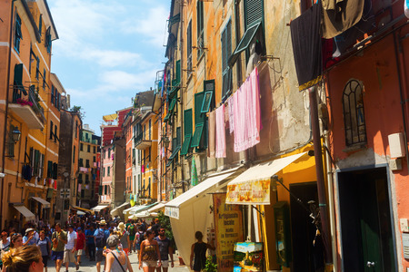 vernazza: Vernazza, Italy - July 02, 2016: street scene in Vernazza with unidentified people. Vernazza is one of the famous five UNESCO protected, picturesque towns in the Cinque Terre. Editorial