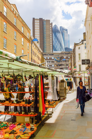 petticoat: London, UK - June 16, 2016: Petticoat Lane Market in London with unidentified people. It is a traditional fashion and clothing market in the East End of London.