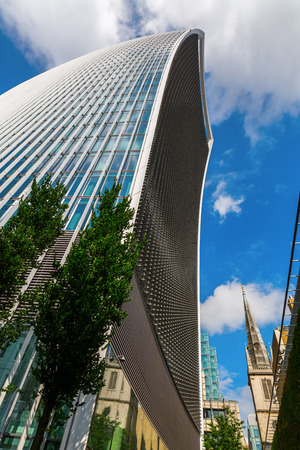 17 20: London, UK - June 17, 2016: skyscraper 20 Fenchurch Street in London, completed 2014, 34-storey and 160 m tall, 12th tallest in London, designed by architect Rafael Vinoly, nicknamed Walkie-Talkie