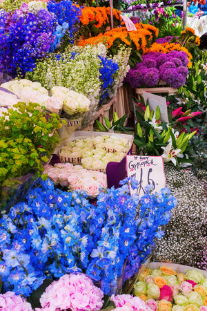 hamlets: London, UK - June 19, 2016: flower stand at Columbia Road Flower Market unidentified in London. It is a popular historic street market in the London Borough of Tower Hamlets. Editorial
