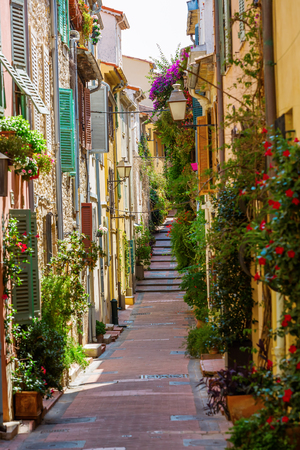 cote: picturesque alley with entwined houses in Antibes, Cote Azur, France Editorial