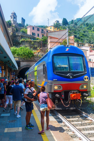 vernazza: Vernazza, Italy - July 02, 2016: train station with unidentified people in Vernazza. Vernazza is one of the 5 picturesque villages of the Cinqueterre, they are listed under UNESCO world heritage sites
