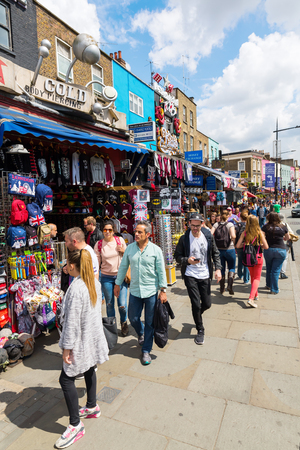 venues: London, UK - June 17, 2016: street scene the main road in Camden with unidentified people. The area hosts street markets and music venues which are strongly associated with alternative culture