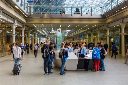 pancras: London, UK - June 16, 2016: St. Pancras Railway Station with unidentified people. St Pancras Railway station is a central London railway terminus and Grade I listed building