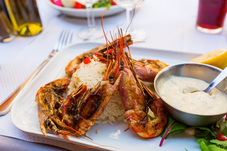 scampi: plate with grilled scampi on rice and aioli