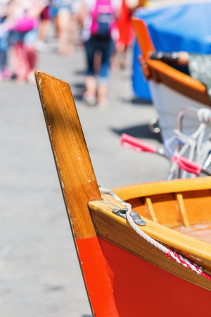 bow of boat: close up picture of a bow of a fishing boat in Riomaggiore, Cinque Terre, Italy