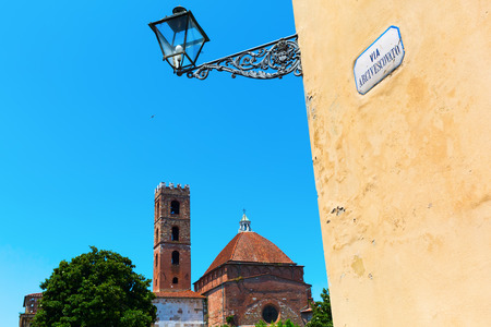 lucca: street view with old buildings in Lucca, Tuscany, Italy