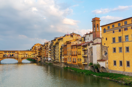 arno: cityscape with Ponte Vecchio and river Arno of Florence, Italy Editorial