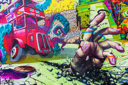 London, UK - June 15, 2016: mural art on a wall in the city of London. London has one of the biggest and best collections of uncommissioned street art in the world