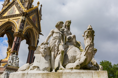 Egyptian themed scuptures at the Albert Memorial in London, UK, at Kensington Gardens, in memory of Prince Albert who died of typhoid in 1861