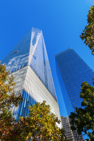 wtc: New York City, USA - October 06,2015: One World Trade Center in NYC. Its the tallest skyscraper in Western Hemisphere and 5th-tallest in world built after original WTC what destroyed in terrorist attacks in 2001