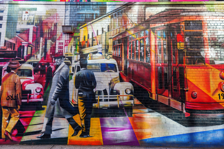 vj: New York City, USA - October 12, 2015: mural from graffiti artist Cobra in Chelsea, Manhattan. It based on Alfred Eisenstadt photograph famous VJ Day in Times Square published in Life Magazine in 1945 Editorial