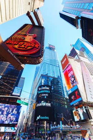 broadway tower: New York City, USA - October 06, 2015: Times Square in midtown Manhattan. It is one of the worlds busiest pedestrian intersections and a major center of worlds entertainment industry