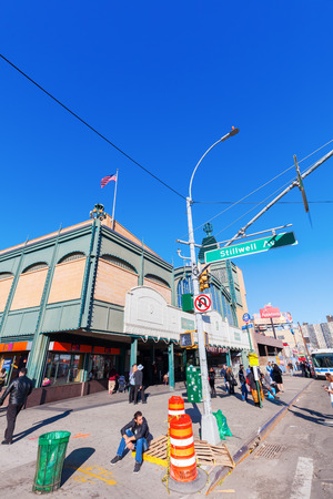 coney: New York City, USA - October 11, 2015: street scene in Coney Iceland with unidentified people. Coney Iceland is wellknown as the site of amusement parks and a seaside resort.