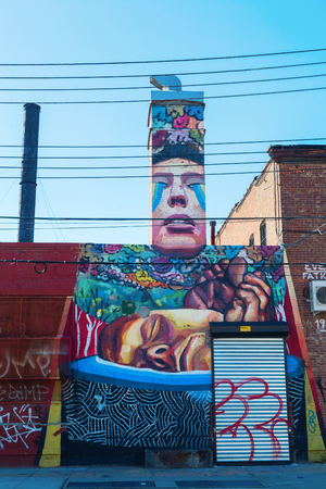 New York City, USA - October 10, 2015: mural art in Bushwick, Brooklyn. Bushwick is one of NYC's major street art hubs, with at outdoor art gallery known as the Bushwick Collective Reklamní fotografie - 63242787