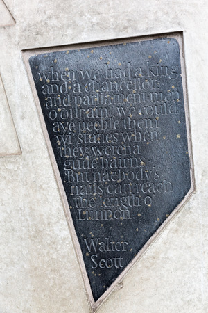 walter scott: Edinburgh, Scotland - September 09, 2016: inscription of a quotate at the Canongate wall of the Scottish Parliament. It is part of the art strategy of the modern building complex