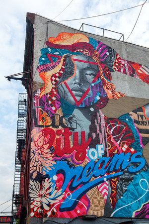 manhattan project: New York City, USA - October 09, 2015: mural in Little Italy. Its part of LISA Project did brings artists together in Little Italy to create Manhattan only mural arts district Editorial