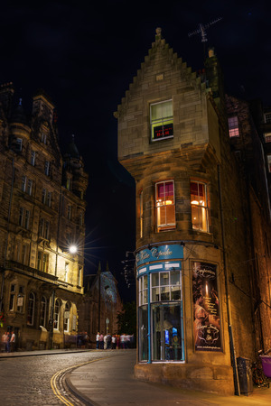 waverley: Edinburgh, Scotland - September 10, 2016: Cockburn Street at night. It is a picturesque street in Edinburghs Old Town, created as a serpentine link from the Royal Mile to Waverley Station in 1856
