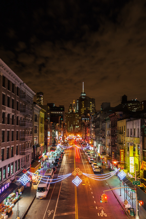 New York City, USA - October 15, 2015: Manhattan at night. The metropolitan area New York City with about 18 million inhabitants is one of the most important economy areas and commercial center of the world