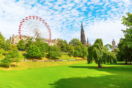 princes street: Edinburgh, Scotland - September 11, 2016: Princes Street Gardens in Edinburgh with unidentified people. It is a public park in the centre of Edinburgh, created in two phases in the 1770s and 1820s