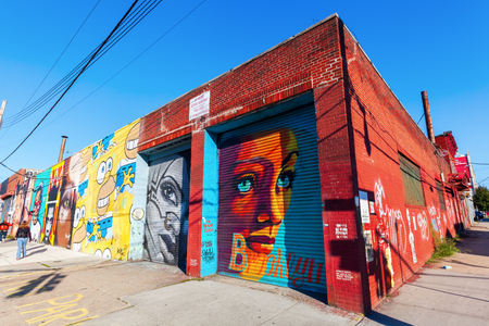 New York City, USA - October 10, 2015: mural art in Bushwick, Brooklyn. Bushwick is one of NYCs major street art hubs, with at outdoor art gallery known as the Bushwick Collective