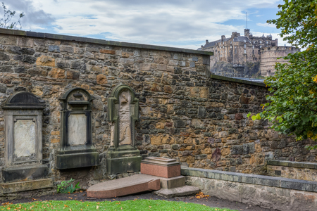Edinburgh, Scotland - September 09, 2016: Greyfriars Kirkyard in Edinburgh. The heritage listed graveyard is associated with Greyfriars Bobby, a loyal dog, who guarded his masters grave for years Editorial