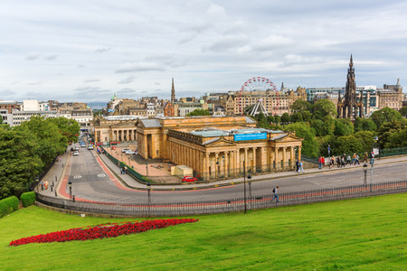princes street: Edinburgh, Scotland - September 11, 2016: view from Old Town Hill to the New Town with unidentified people. The old and new town of Edinburgh are listed as UNESCO World Heritage Site