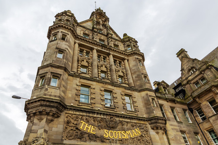 Edinburgh, Scotland - September 09, 2016: The Scotsman Hotel Edinburgh. It opened in 2001 in the Edwardian building from 1905 which had housed The Scotsman newspaper for nearly a century
