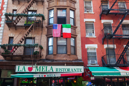 New York City, USA - October 09,2015: building in Little Italy, did is a neighborhood in lower Manhattan once known for its large population of Italians, today exists only a few Italian restaurants n stores
