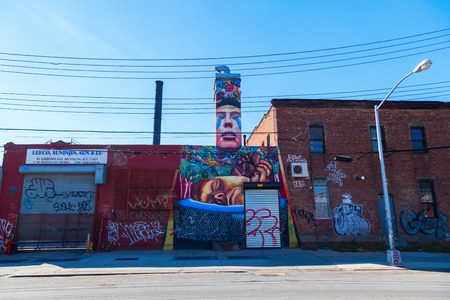 New York City, USA - October 10, 2015: mural art in Bushwick, Brooklyn. Bushwick is one of NYC's major street art hubs, with at outdoor art gallery known as the Bushwick Collective Reklamní fotografie - 62871826