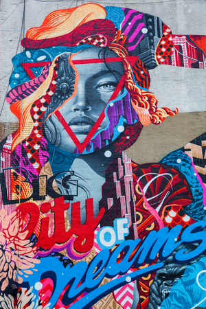manhattan project: New York City, USA - October 09, 2015: mural in Little Italy. It was painted byTristan Eaton under the LISA Project did what founded to bring artists togther in the only mural district of Manhattan