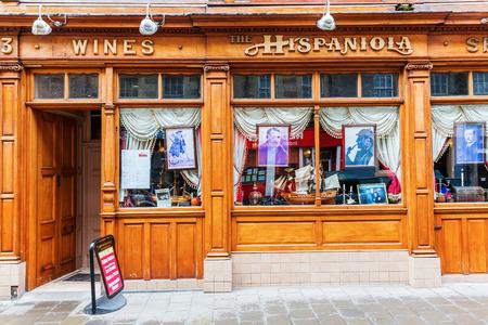 homage: Edinburgh, Scotland - September 09, 2016: Restaurant Hispaniola. Formerly, Rutherfords Bar, Robert Louis Stevensons favourite haunt, it was converted into a homage of the novel Treasure Island. Editorial