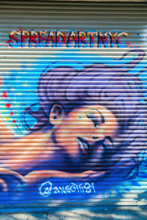 collectives: New York City, USA - October 10, 2015: mural art in Bushwick, Brooklyn. Bushwick is one of NYCs major street art hubs, with at outdoor art gallery known as the Bushwick Collective