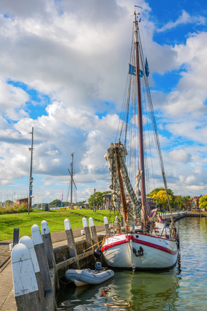 ship in the harbor of Enkhuizen, Netherlands Stock Photo