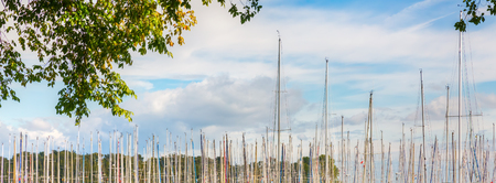 long row of masts of sailing ships in a harbor