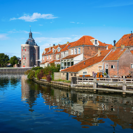 picturesque view of historical buildings in Enkhuizen, Netherlands