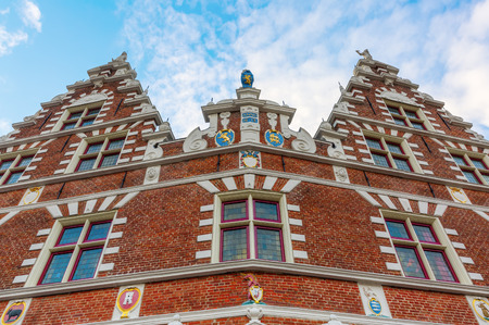 hoorn: facade of a historic building in Hoorn, The Netherlands Stock Photo