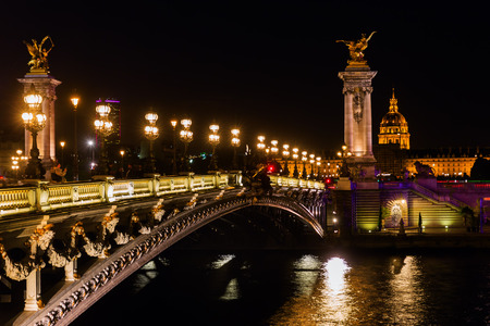 Bridge Pont de Alexandre III in Paris, France, at night