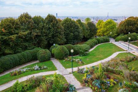 파리, 프랑스에서 Parc 드 Belleville의 공중보기 스톡 콘텐츠