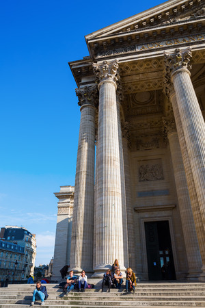 the distinguished: Paris, France - October 16, 2016: Pantheon with unidentified people in Paris. Originally a church it now functions as a secular mausoleum containing the remains of distinguished French citizens Editorial